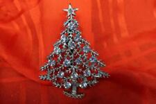 VINTAGE SIGNED BJ B.J. BLUE RHINESTONE CHRISTMAS TREE SILVER TONE STAR BASE PIN