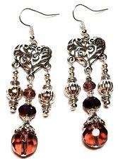 SILVER PURPLE EARRINGS long drop dangle chandelier chic unique vintage gypsy
