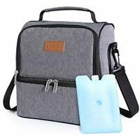 Lifewit 7L Dual Compartment Insulated Lunch Bag with Ice Pack for Adult & Kids