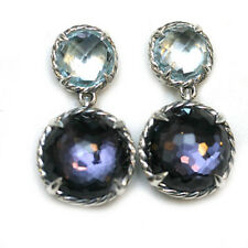 DAVID YURMAN NEW Amethyst Blue Topaz Double Drop Sterling Silver Earrings