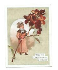 With Compliments of the Season Man in Top Hat Red Flowers Vict Card c1880s