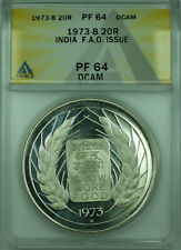 1973-B 20R India F.A.O. Issue ANACS PF 64 DCAM 20 Rupee Proof Silver Coin KM#240