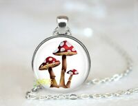 "MUSHROOMS RED PLANT charm pendant 20"" Sterling Silver 925 necklace chain female"