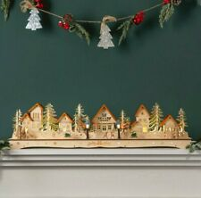Wooden Christmas Mantel Village Handcrafted Holiday Decoration