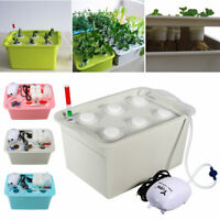6 Plant Grow Site Deep Water Culture Hydroponic System Bubble Tub Air Pump AU