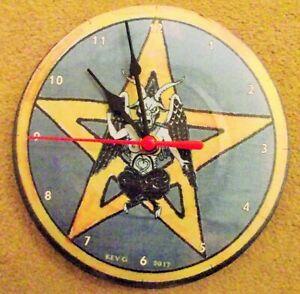 """PAGAN BAPHOMET 7"""" wall clock. upcycled"""