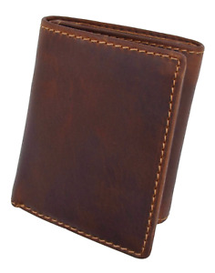 RFID Blocking Brown Vintage Leather Men's Trifold Center Flap Wallet