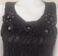 Lovely Embellished Mini Dress Textured Fabric Flowers Beads M Butterfly Top L