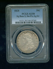 1828 Square Base 2 Small 8's Large Letters Capped Bust Half Dollar PCGS AU 50