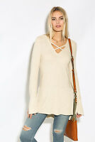 NWT Free People XS Ivory Criss Cross Long Sleeve Pullover Sweater Tunic