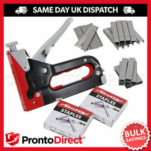 Heavy Duty Staple Gun Stapler Tacker Upholstery Cable Incl 600 Staples Nails