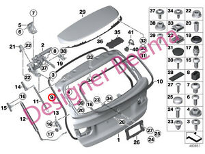 BMW 3' Series F31 Touring Rear Tailgate Rubber Gasket Seal (JS)