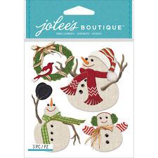 Snowmen Christmas Wreath Cardinal Bird Family  Jolee's 3D Stickers