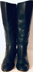Corso Como Tall Riding Boots Womens 9.5M Leather Black Low Heel Zipper Knee High