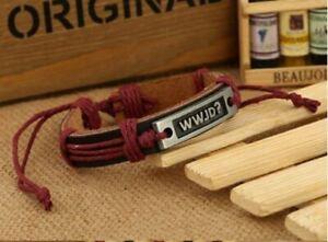 Inspiration Men's Leather Bracelet WWJD Charm Leather Bangle Wristband Bracelet