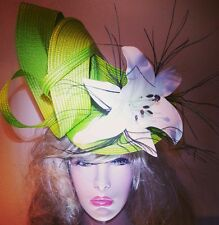 Fascinator hatinator hat races wedding green - one off design