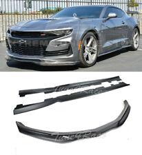 For 19-Up Chevrolet Camaro SS T6 Style Front Lip Splitter & Side Skirts Black