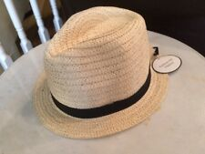 """Girls Straw Fedora Hat With Black Band Small 7 1/4"""""""