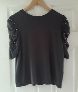 New Look Grey Jumper Size 14 Soft Knit Ruched Sleeves Silver Beads Party Smart