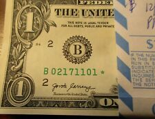 *2017 Star Note $1 Dollar Bill-Consecutive numbers-perfect condition