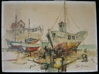 "Jack Greene Oil on Canvas, Fishing Boats at Dock. Signe, c.1950's/60's. 16""x12"""