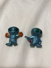 2 (Mini) Hard Plastic Ufo Green Martians Small Figurines-Boxer & Businessman