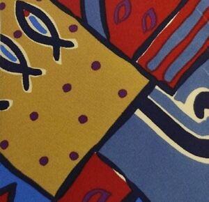 New Steel Men's Silk Necktie, Red, Beige, Blue Artistic Pattern 56 x 3 3/4, A79