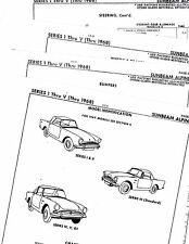 THRU 1968 SUNBEAM ALPINE SERIES I II III IV V BODY PARTS LIST CRASH SHEETS MFRE