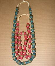 2 African Ghana Handmade Necklace Choker Pendant Glass Trade Beads Strand Krobo