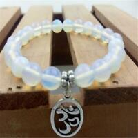 8mm White Opal Mala Bracelet Gemstone 7.5 inches Bless Wrist Pray Buddhism