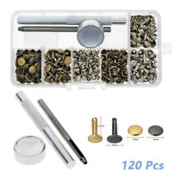 120Pcs Leather Rivets Double Cap Rivet Tubular Metal Studs Setting Tool Kit UK