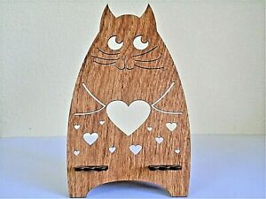 Cat with Heart wooden phone stand - Easter gift free standing birthday cat love