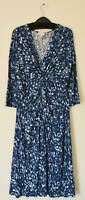 NEW EX EAST UK SIZE 10 12 MULTI BLUE PRINT 3/4 SLEEVES JERSEY DRESS