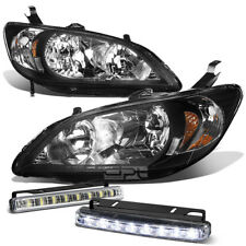 FOR 04-05 HONDA CIVIC EM/ES JDM BLACK HEAD LIGHT+CLEAR TURN SIGNAL+LED FOG LAMP