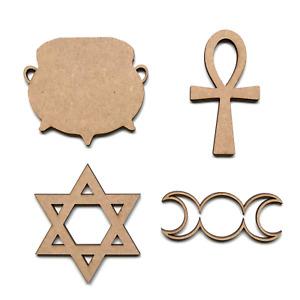 Wooden MDF Wiccan Hexagram Goddess Ankh Symbols Shapes Craft Embellishment Signs