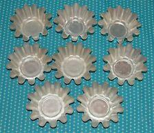 """8 Vtg Aluminum Individual Molds Jello Baking Tin Lot Mini Fluted Tart Pan 3 5/8"""""""