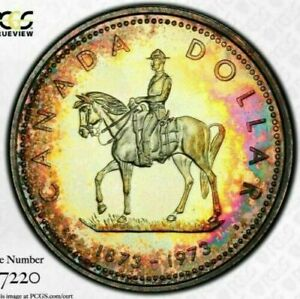 1973 Canada $1 Dollar RCMP Silver! PCGS SP67 Beautiful MONSTER Toning!