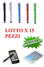 LOTTO 15 PEZZI Penna pennino capacitivo TOUCH per Smartphone Tablet STOK 15 PEZ.