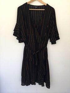 City Chic Striped Faux Wrap Dress Size M Black Terracotta Short Sleeve Party