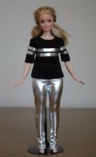 Clothes for Curvy Barbie Doll. T-shirt and Silver Metallic Leggings for Dolls.