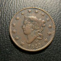 1823/2 Large Cent VF+/XF Extremely Fine Matron Head Coronet Overdate Newcomb N1