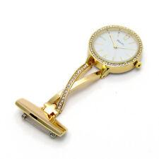 Ravel Nurse or Beauticians Diamante Fob Brooch Uniform Watch Gold R1106.02