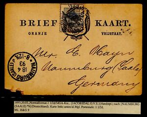 Oranje Vrij Staat Briefkaart H&G 9 Jacobsdale 20.03.1893 Naumburg Saale Orange