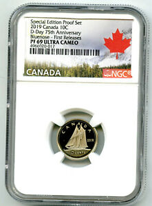 2019 CANADA 10 CENT D-DAY PROOF NGC PF69 DIME FIRST RELEASES 75TH ANNIVERSARY