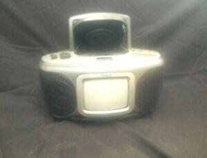 "Vintage 5"" B/W, Portable TV with AM/FM Radio, CD Player."