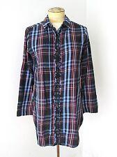 VGC Betsey Johnson Intimates Flannel Pajama Tunic Top Sleepshirt Ruffles S