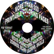 SCARY, HORROR, HAUNTED - 300+ PRINTABLE COLORING PAGES ON CD - Adults & Advanced
