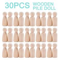 30Pcs Unfinished Wooden Peg Dolls Wooden Tiny Doll Bodies Peg People DIY Toy Kit
