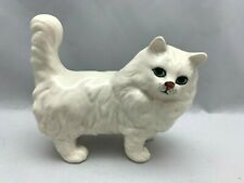 Beswick England White Long Hair Fluffy Cat Statue Figure 5.5 inches Length