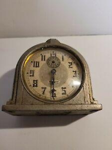Antique WESTCLOX Dura Case 61D Art Deco Wind Up Alarm Clock 1930's RARE